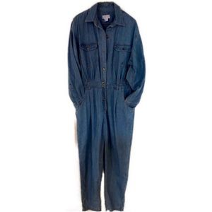 Vintage Denim Boiler Button Front Jumpsuit.